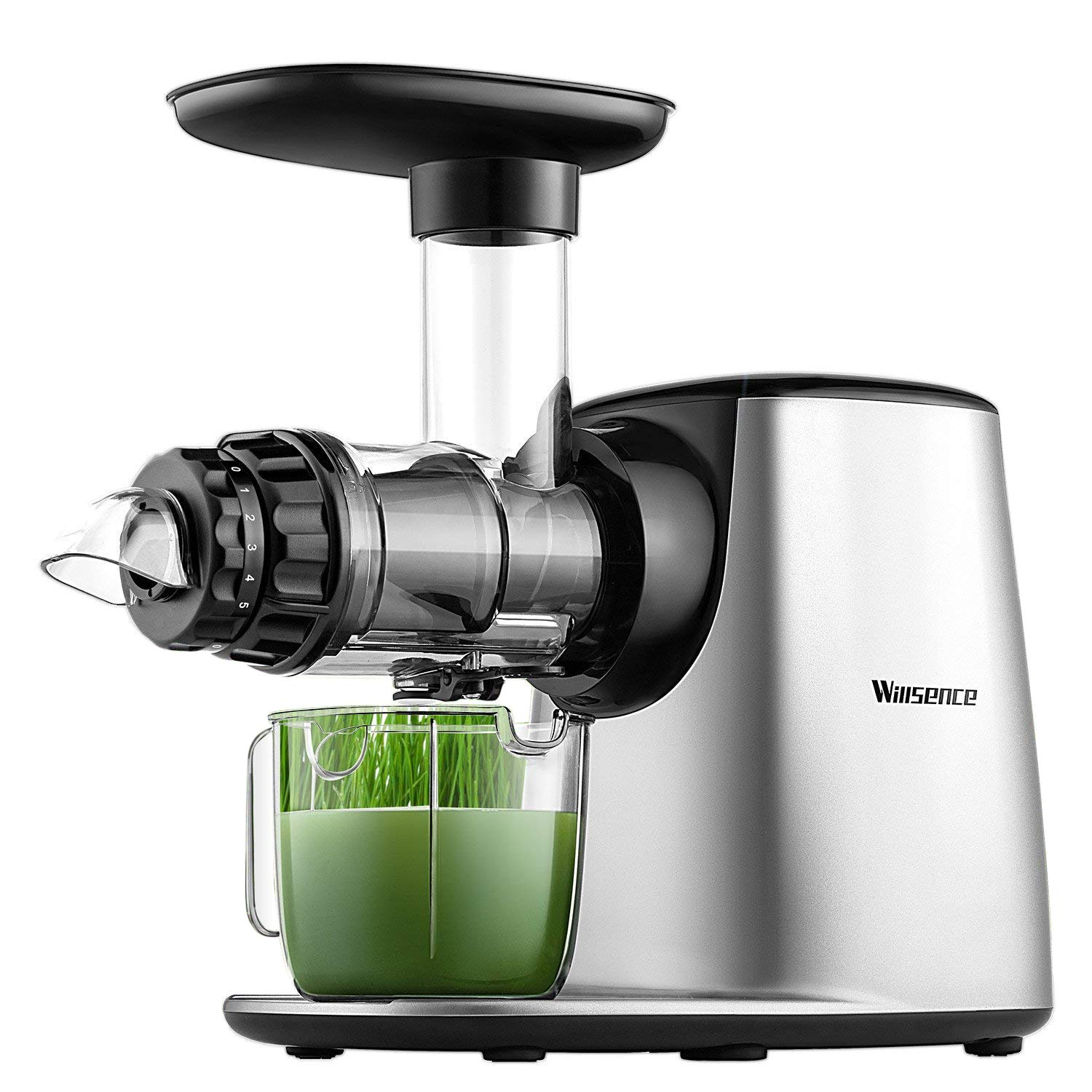 Juicer Machine, Willsence Slow Masticating Juice Extractor with 5 Mode Adjustment, Clod Press Juicer with Reverse Function, Anti-Drip, Quiet Motor, Recipes for Vegetables and Fruits, BPA-Free by Willsence