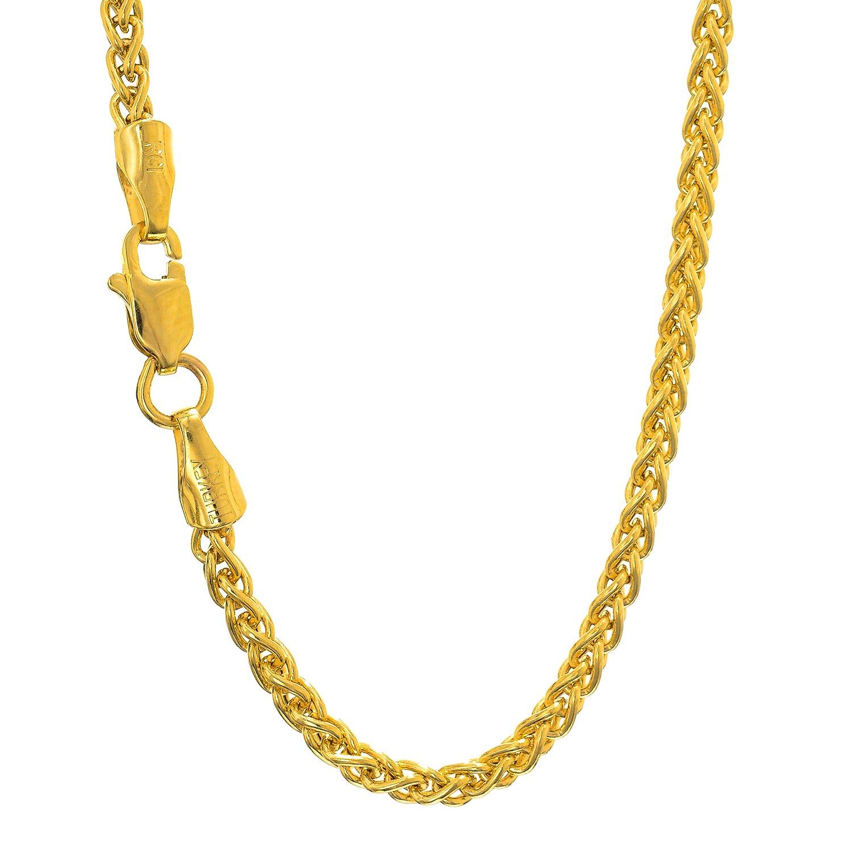 MCS Jewelry 14 Karat Yellow Gold Light Weight Wheat Chain Necklace 3.3mm (Length: 18''-24'') (24)