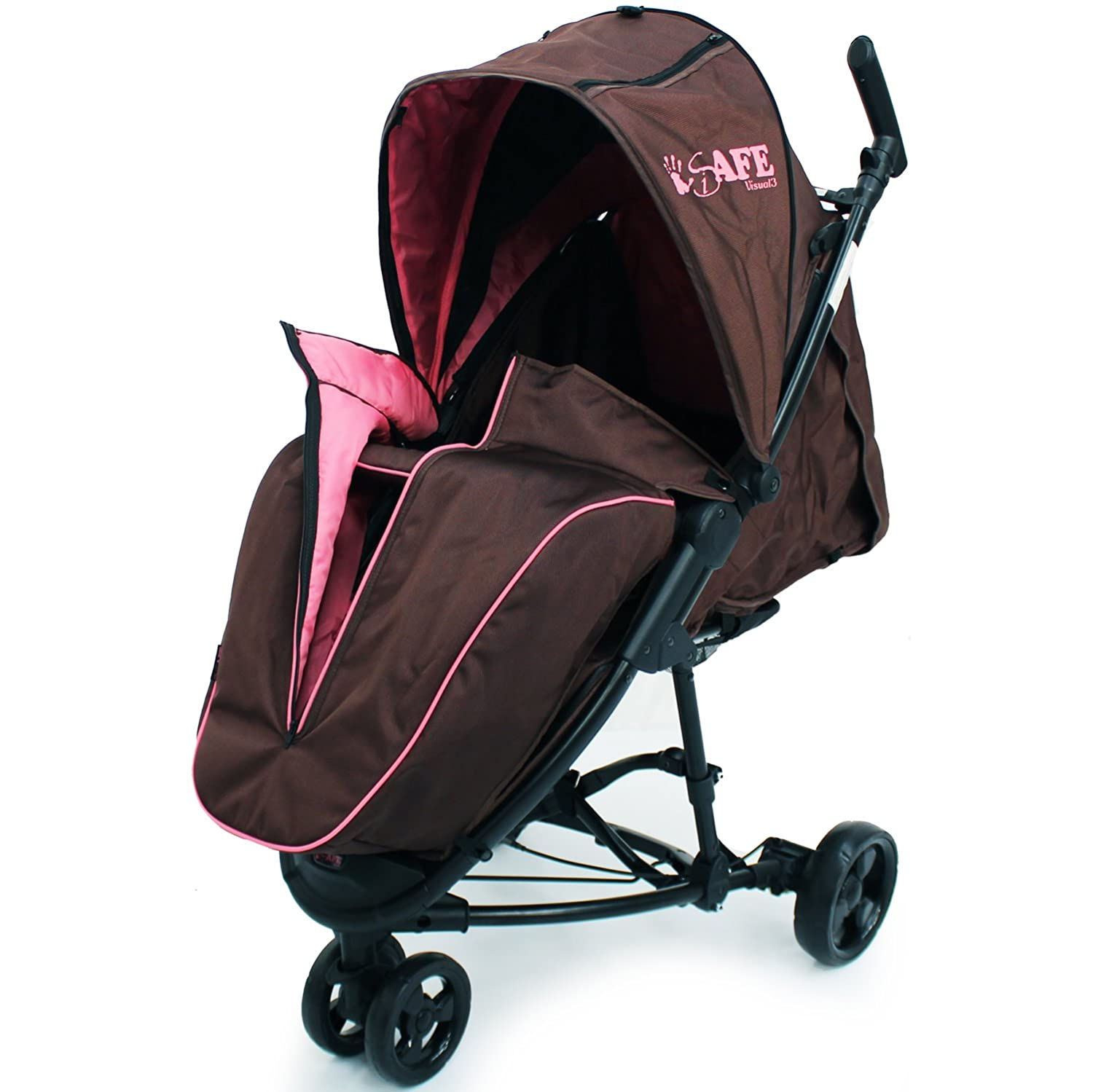 iSafe Visual 3 Raspberry Cake Three Wheeler Stroller from Birth with Tablet Smart Phone Media Pocket T5-HZFM-Q0FE
