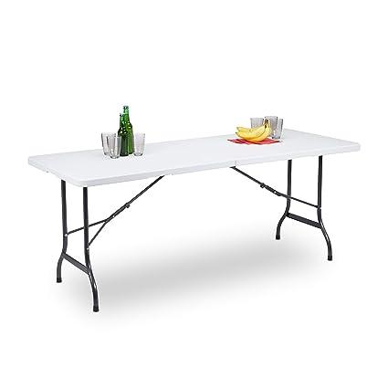 Gartentisch Klappbar Wetterfest.Relaxdays Gartentisch Klappbar Als Koffer Tragbar Wetterfest Eckig Metallgestell Kunststoff Hbt 72x180x75cm Weiß