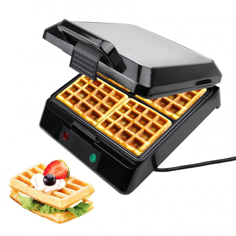 Leogreen - Macchina Per Waffle, Piastra Per Cialde, Argento, Funzione: Può cucinare 4 cialde contemporaneamente, Standard/Certificazione: LFGB