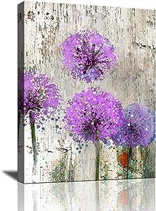 Dandelion Wall Art Bathroom Decor Wall Art Canvas Print for Living Room Purple Flower Flora Painting Home Bedroom Decoration Modern Framed Artwork Decor