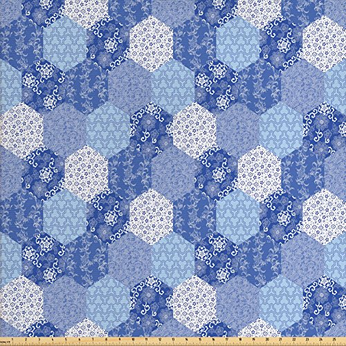 Japanese Fabric by the Yard by Ambesonne, Antique Asian Patchwork Artwork Ethnic Floral Pattern Geometric Hexagonal Handmade, Decorative Fabric for Upholstery and Home Accents, Blue White from Ambesonne