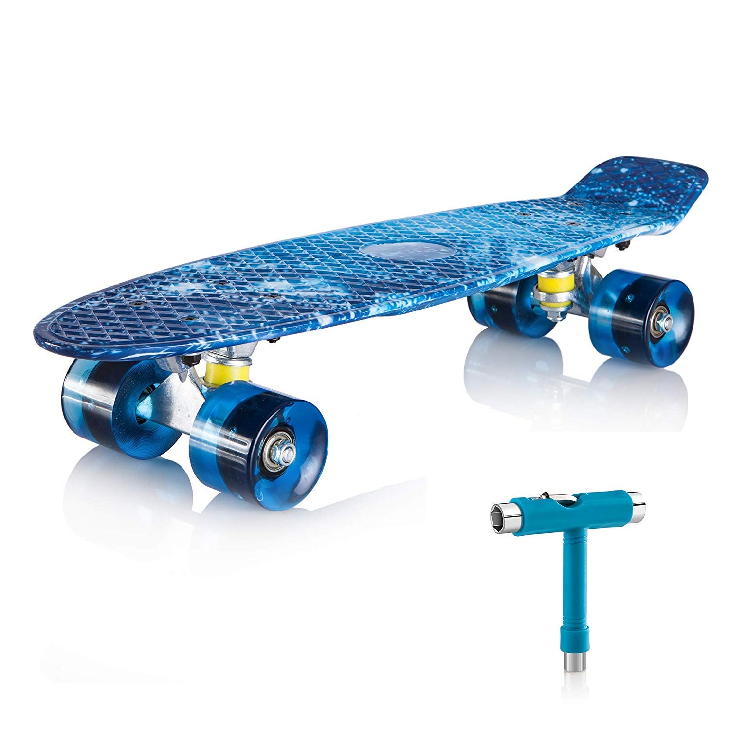 Newdora 22 Skateboard , Skateboard Cruiser with Colorful LED Light Up Wheels for Youths, Beginners with Gift Box Galaxy