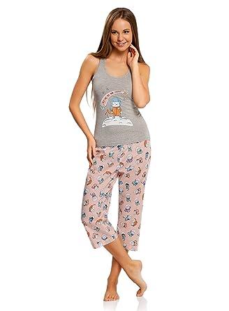 oodji Ultra Mujer Pijama con Pantalones y Estampado Gato, Gris, ES ...