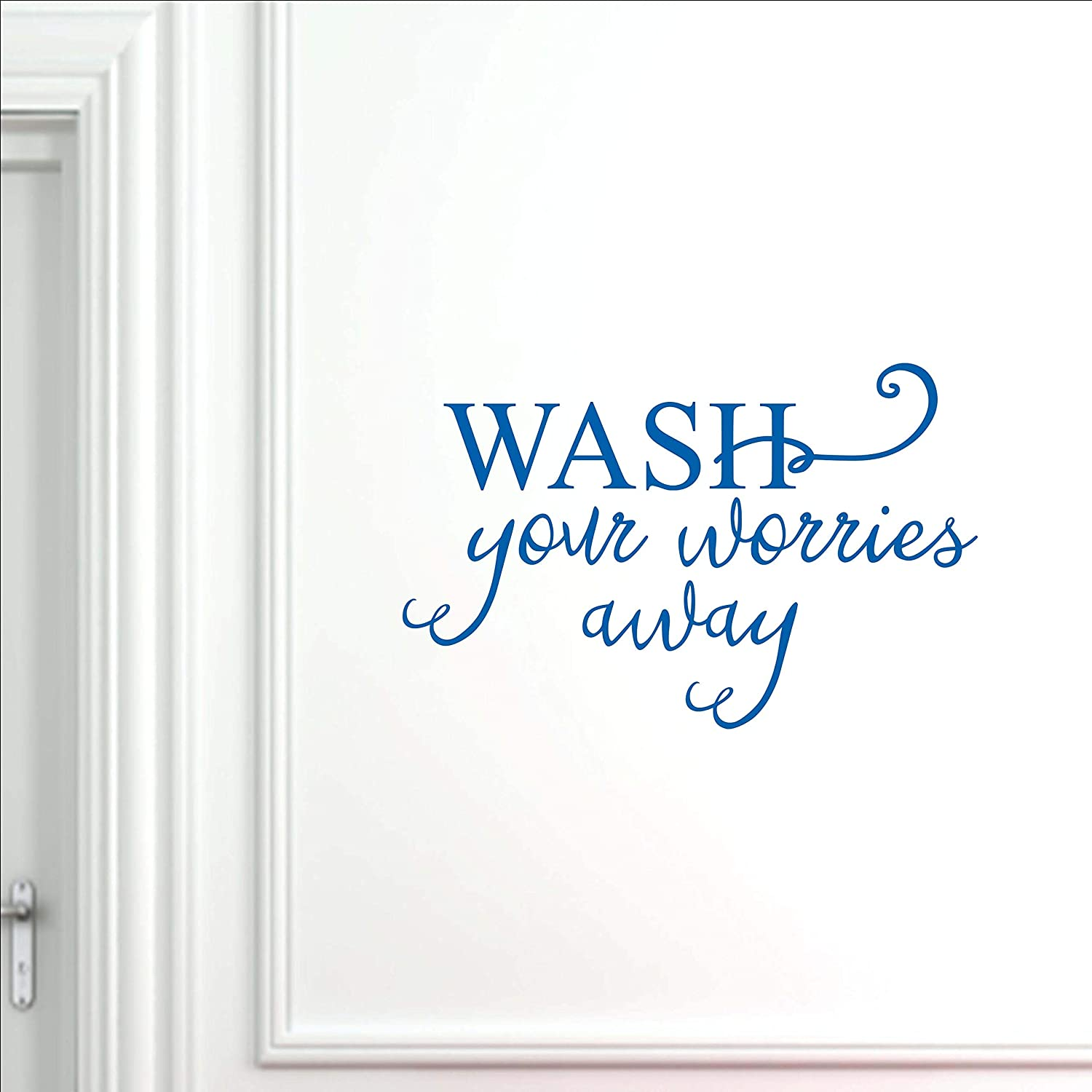 Vinyl Quote Me Bathroom and Laundry Room Wall Decor Decal Sticker | Laundry Room and Bathroom Decals | Wash Your Worries Away | 33x21-Blue