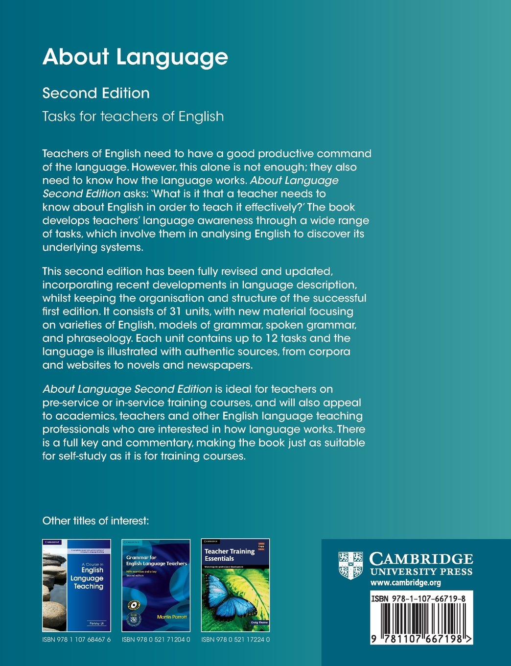 About Language: Tasks for Teachers of English (Cambridge Teacher Training and Development) by CAMBRIDGE UNIVERSITY PRESS