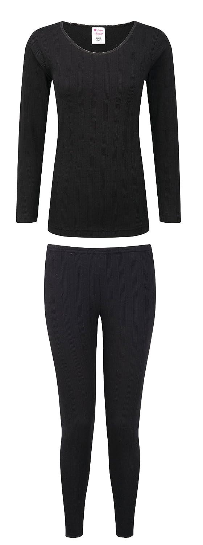 d7377dcf8 Size 10-24 By Sockstack® Ladies Thermal Long Sleeve Top & Pants Set Black  ...