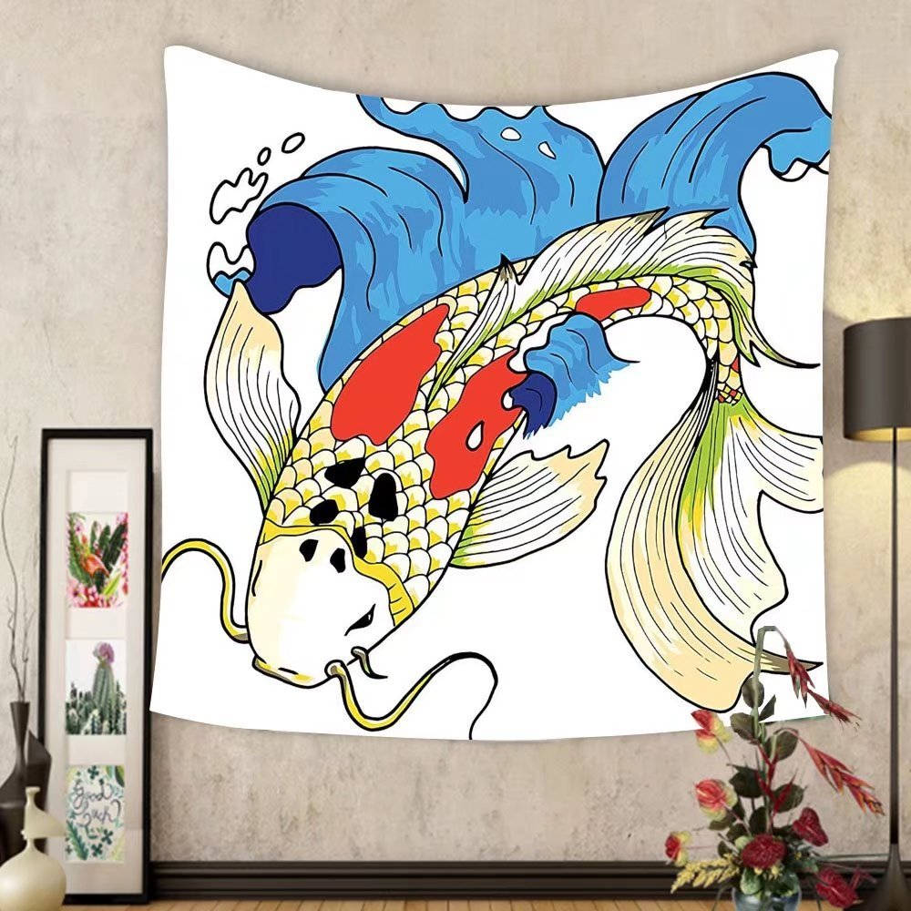 Gzhihine Custom tapestry Ocean Animal Decor Tapestry Mystical Asian Koi Common Carp Fish in Waves Chinese Sea Creature Zen Image for Bedroom Living Room Dorm 60WX40L Multi