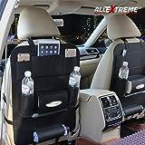 AllExtreme PU Leather Car Auto Seat Back Multi Pocket Organizer and iPad mini Holder Backseat Organizer Hanger Accessory Universal Use as Car for Storage Bottles, Tissue Box, Magazines,Toys (Black)
