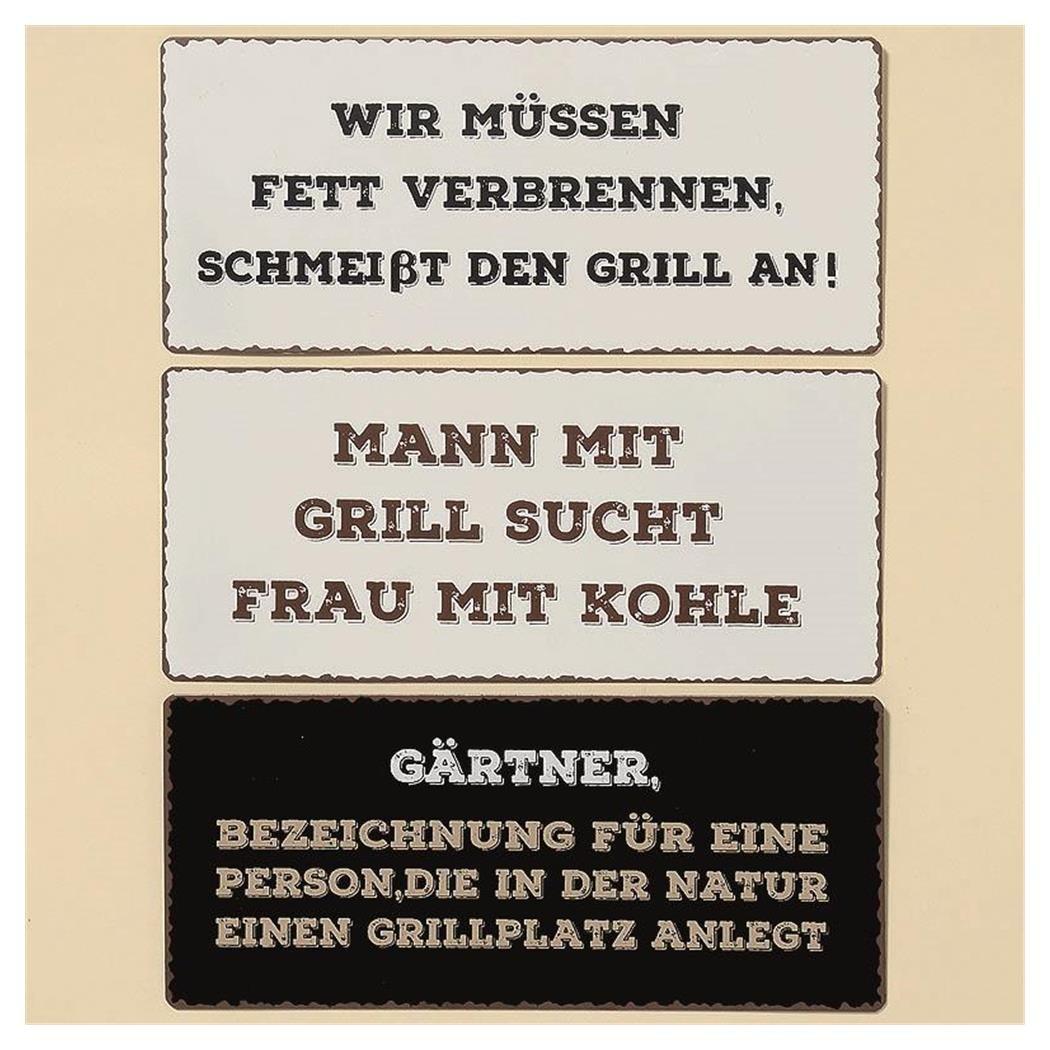 Wir M/üssen Fett Verbrennen Boltze Schild Blechschild Garten Grill Schmei/ßt Den Grill an ca 30 x 13 cm