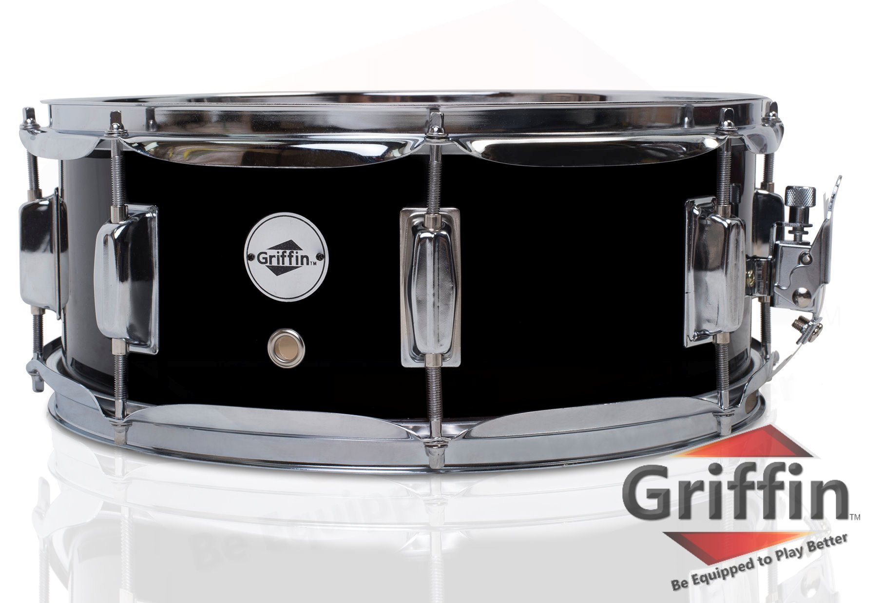 Griffin Snare Drum | Poplar Wood Shell 14'' x 5.5'' with Black PVC Glossy Finish|Percussion Musical Instrument with Drummers Key for Students & Professionals|8 Tuning Lugs & Snare Strainer