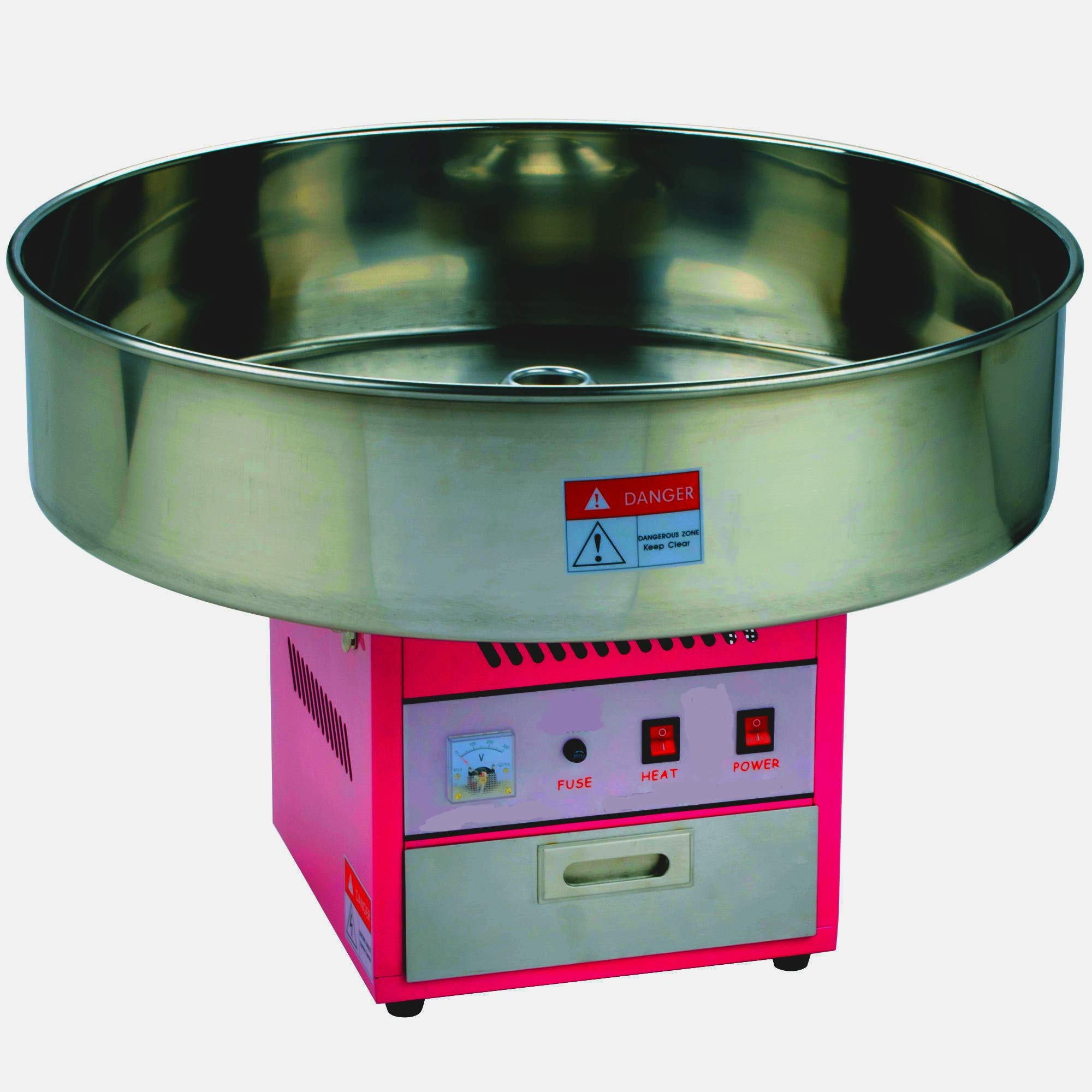 Cotton Candy Machine with 28'' Stainless STeel Bowl and Floss Bubble Attachment- 110V