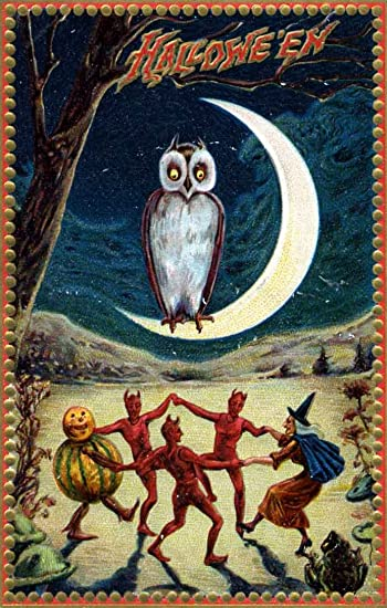 Amazon.com: Vintage Halloween Poster Made From Circa 1910 Postcard ...