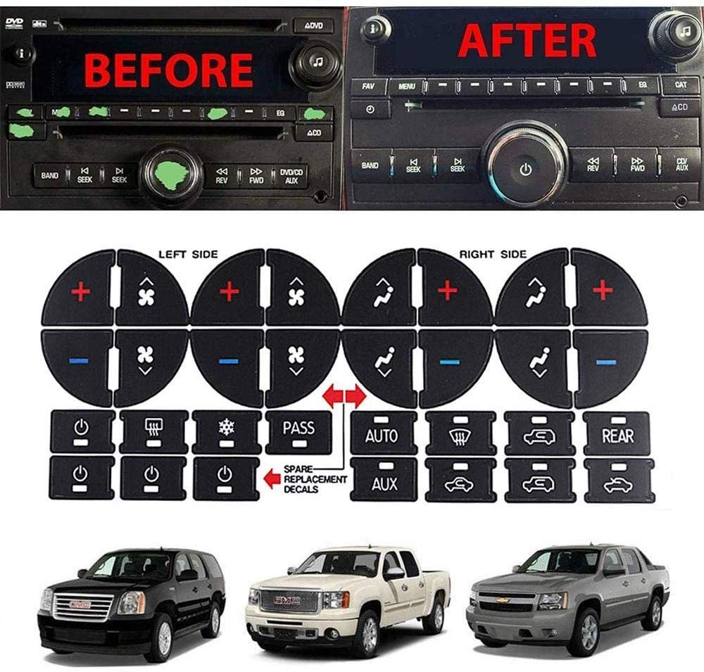 2pcs WASTOREEL AC Dash Button Decal Stickers Fit for Chevrolet GMC Tahoe Yukon Acadia Sierra 2007-2015