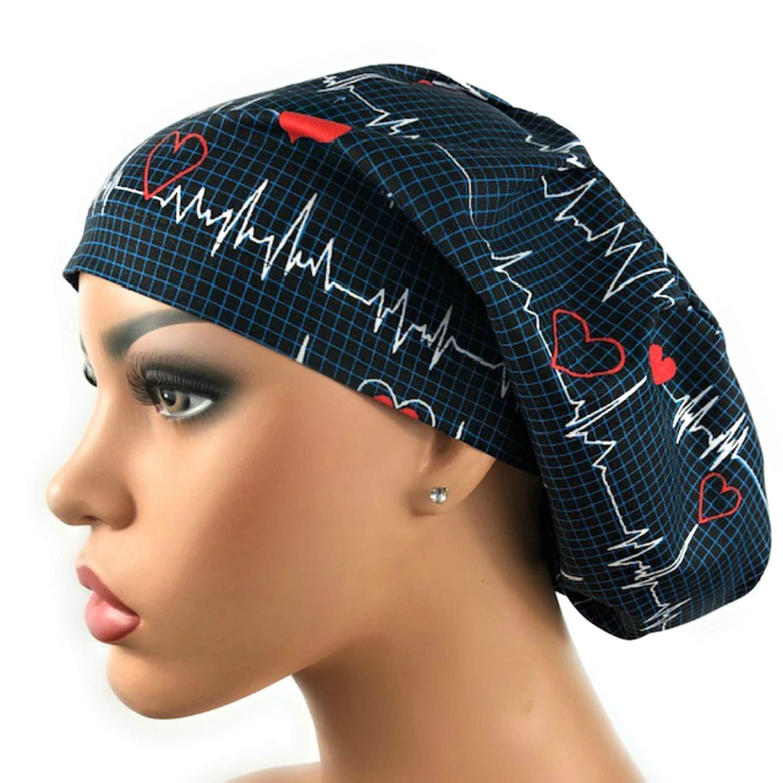 Women's EKG Heartbeat Surgical Scrub Hat Navy Blue Bouffant Cap by DK Scrub Hats