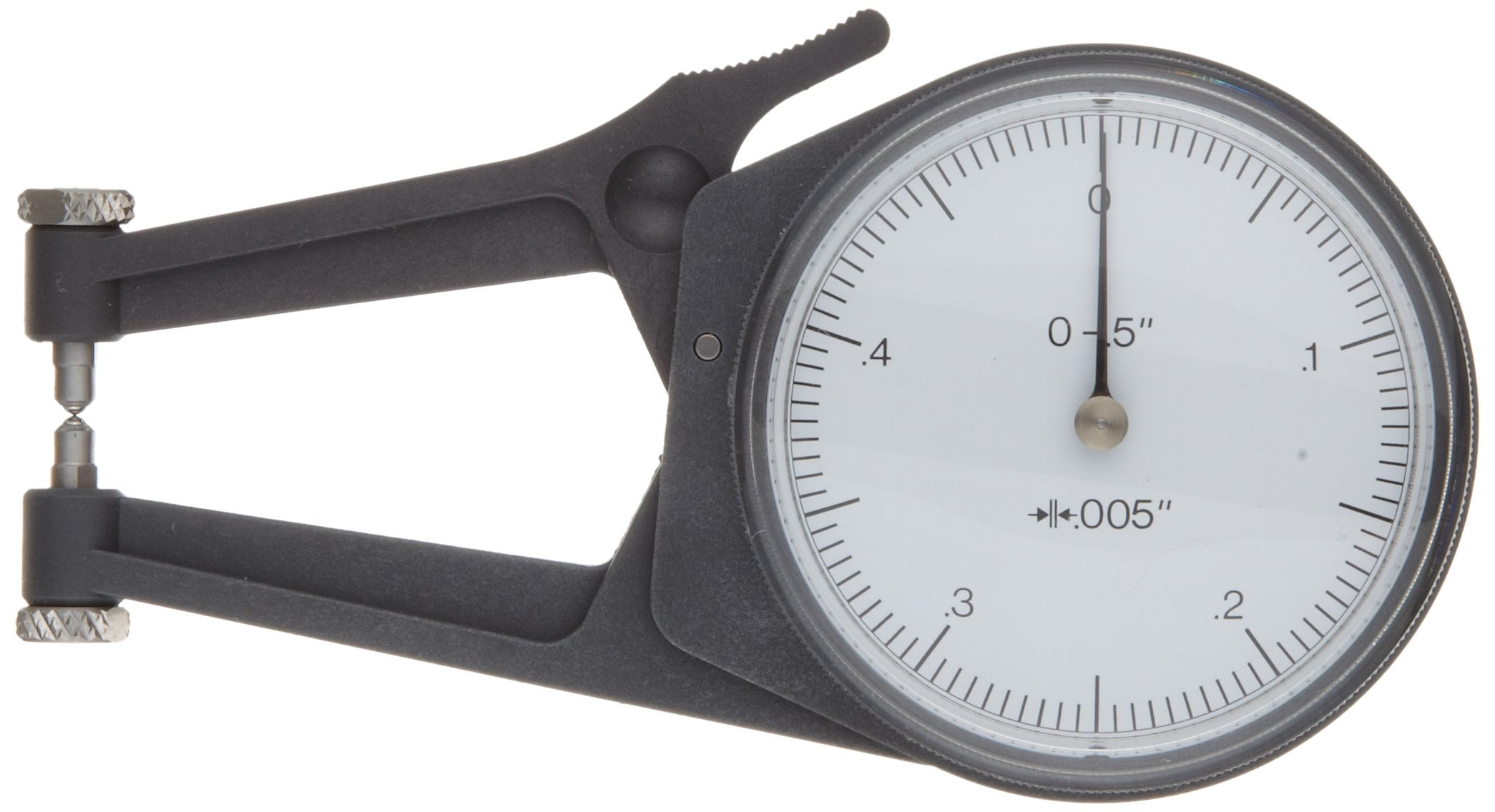 Mitutoyo 209-455 Caliper Gauge, Pointed Jaw, White Face, 0-0.80'' Range, +/-0.0015'' Accuracy, 0.0005'' Resolution, Meets IP65 Specifications
