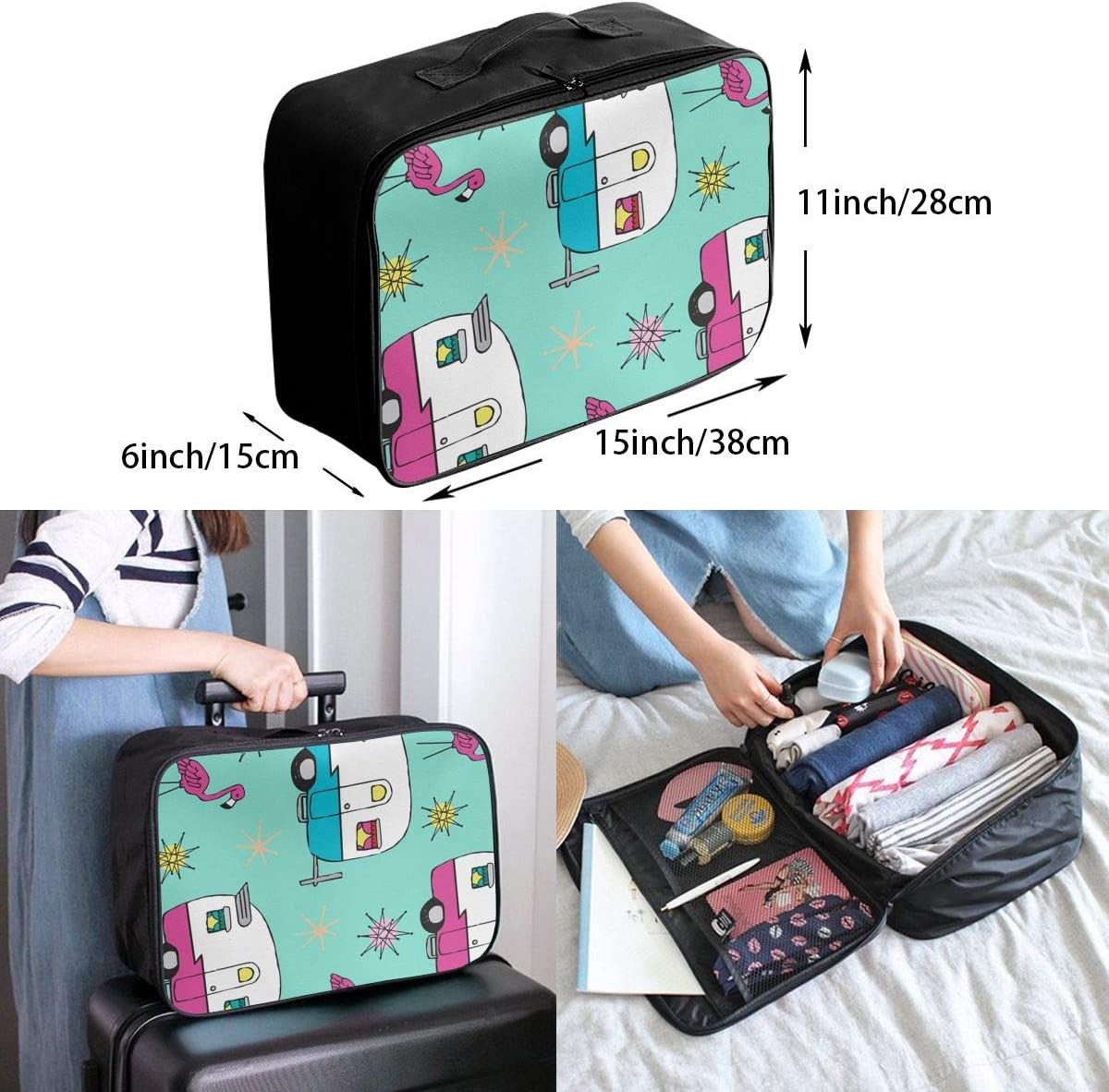 Red Tail Goldfish Pattern Travel Carry-on Luggage Weekender Bag Overnight Tote Flight Duffel In Trolley Handle