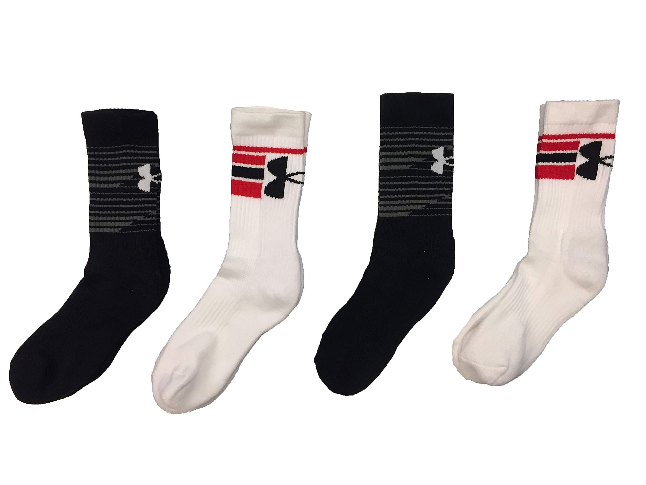 Under Armour Boy`s Heatgear Training Crew Socks, 4 Pack (Youth Large, White(2274)/Black/Red) by Under Armour