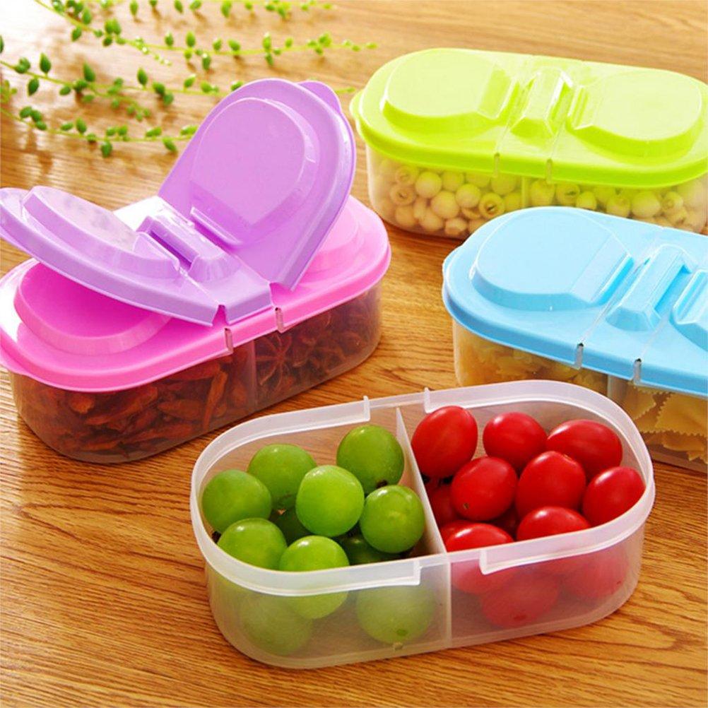 Bestonzon wiederverwendbare Frischhaltedosen aus Kunststoff mit Deckel, 2 Fächer, geeignet für Kühlschrank, für Snacks und Früchte, 4 Stück 2 Fächer 4 Stück
