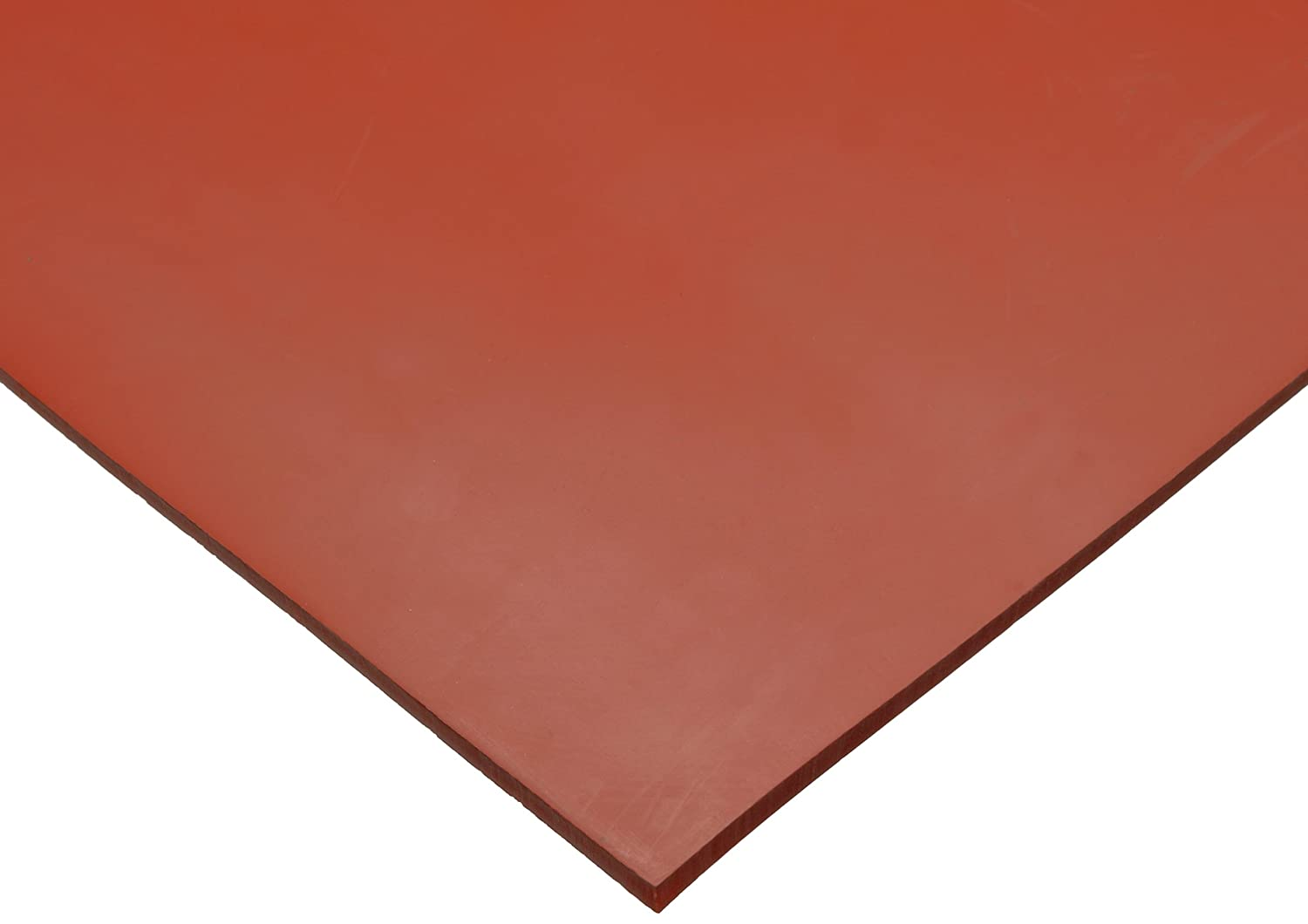 "Silicone Sheet, 70A Durometer, Smooth Finish, No Backing, Red, 1/16"" Thickness, 12"" Width, 12"" Length"