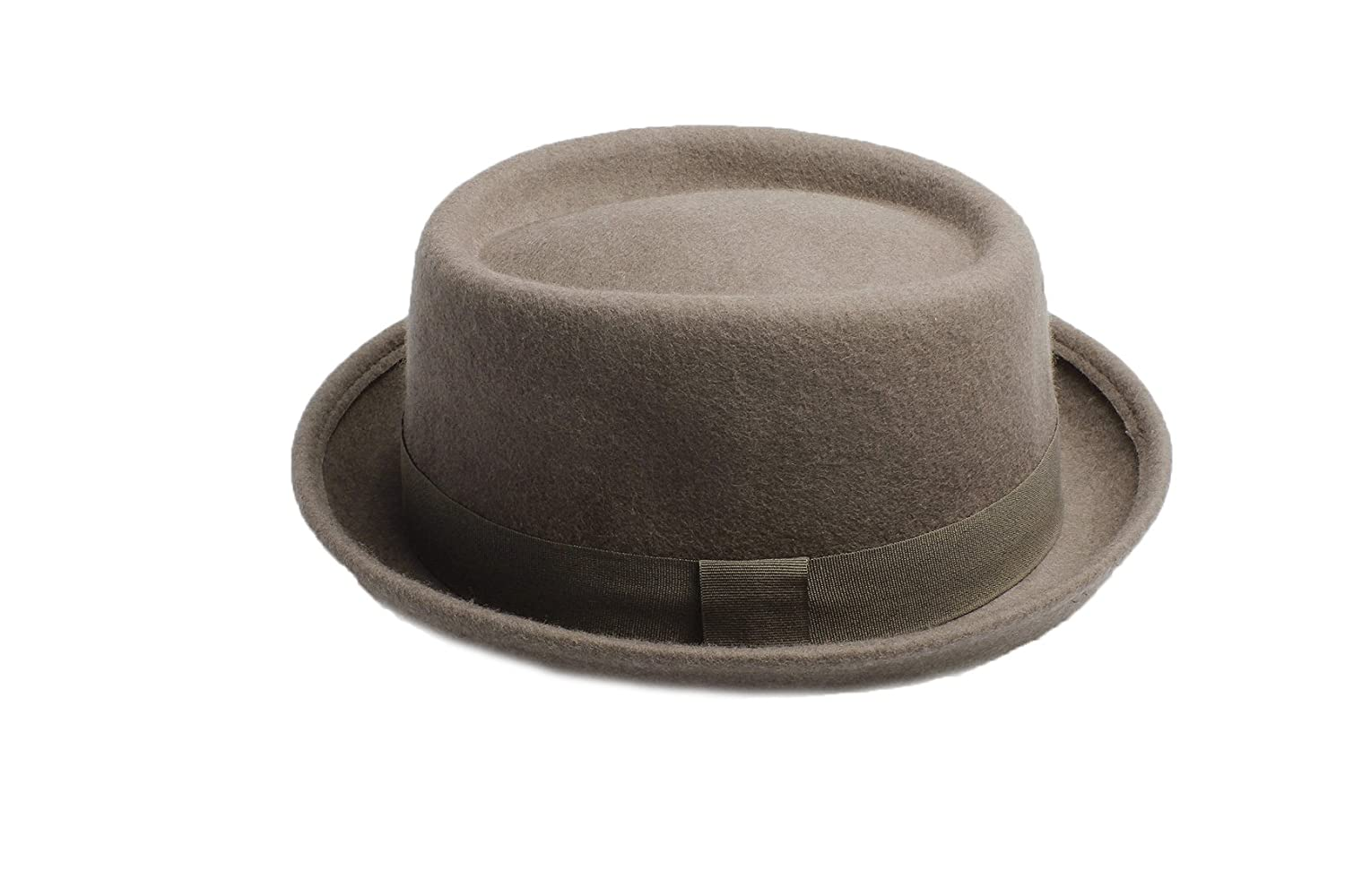 Unisex Grey Wool Pork Pie Hat Available in a Selection of Sizes