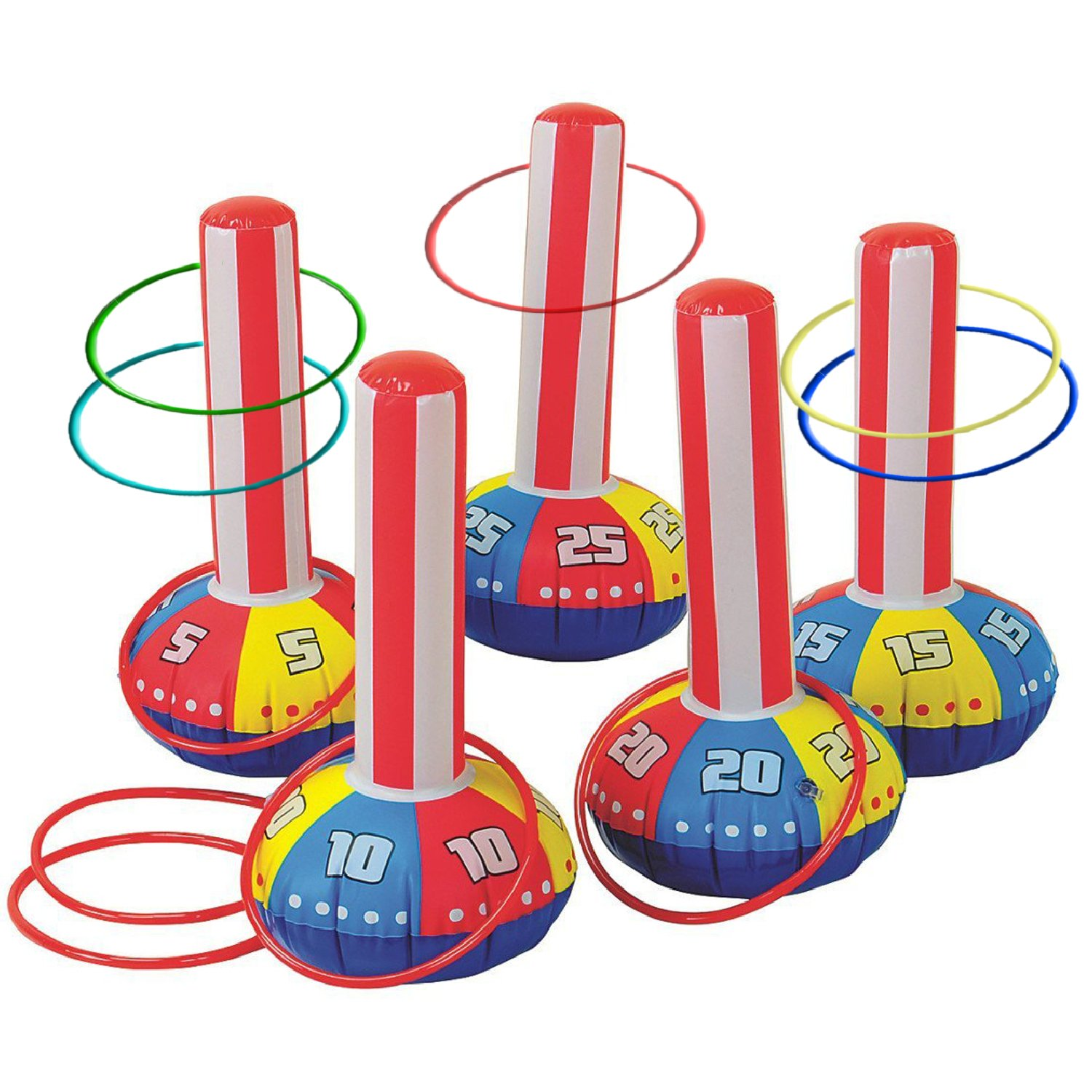 "Gamie Inflatable Ring Toss Game by Super Fun Outdoor Games for Kids & Adults - 5 15"" Tall Inflate Bases, 5 Flexible Rings and 5 Sturdy Rings - Best Birthday Party Activity for Boys & Girls"