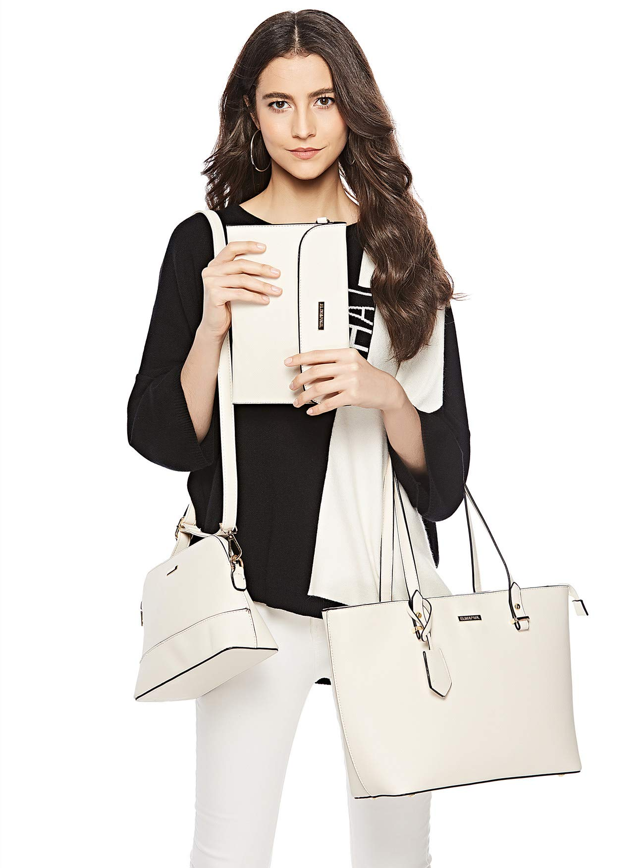 ELIMPAUL Women Fashion Handbags Tote Bag Shoulder Bag Top Handle Satchel Purse Set 4pcs (Black-3) by ELIMPAUL (Image #7)