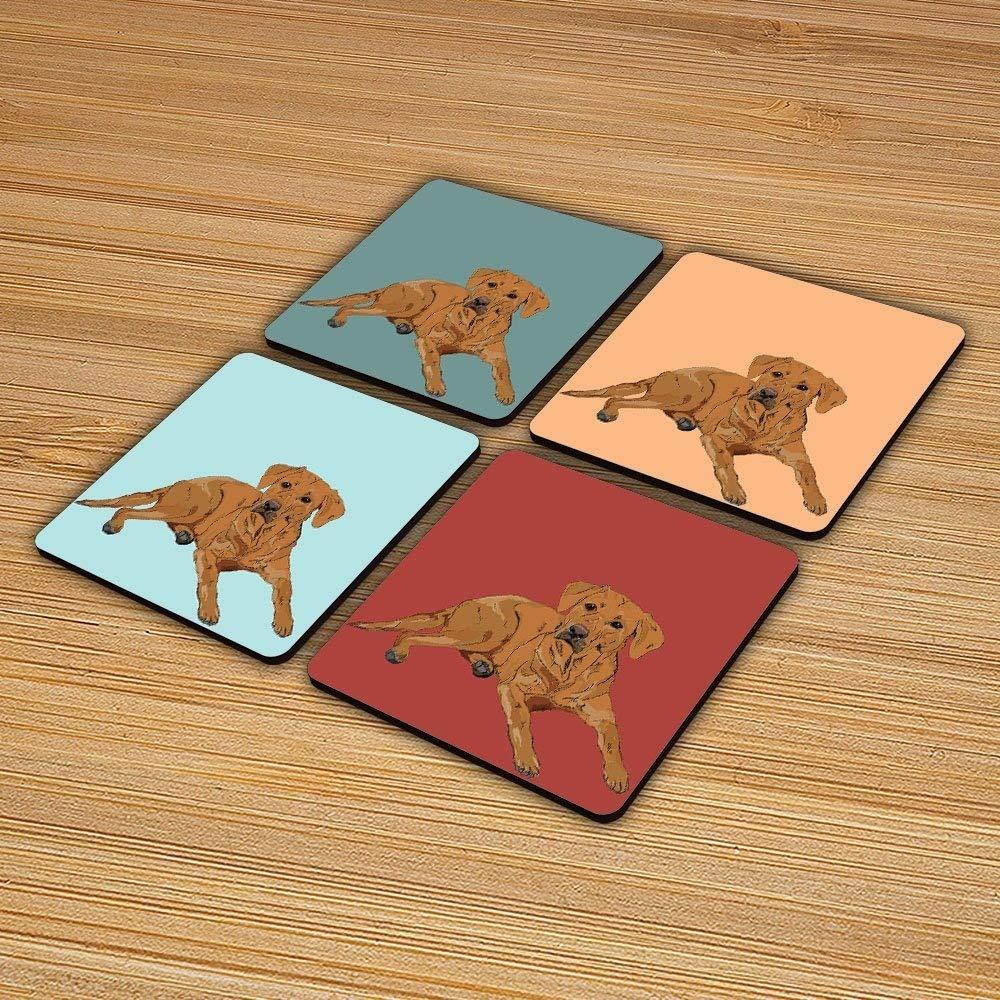 4X Original Fox Red Labrador Illustration Coaster Set