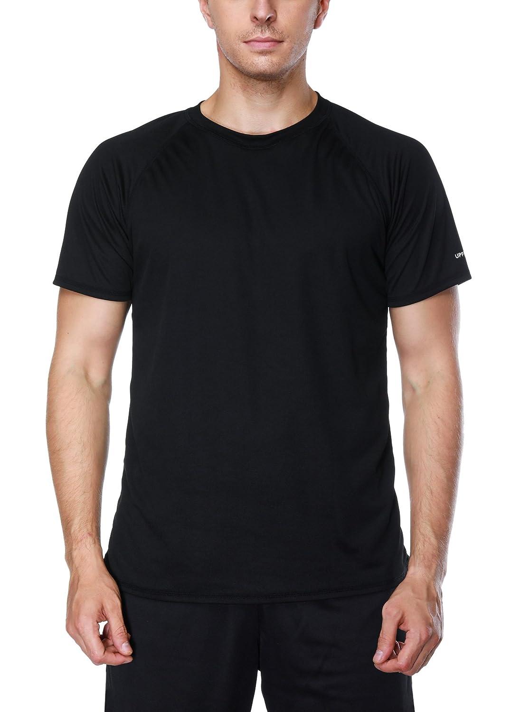 Solid Black XLarge Vegatos Men's Swim Shirt Short Sleeve Surf Swim Tee Rashguard Shirts Workout Top