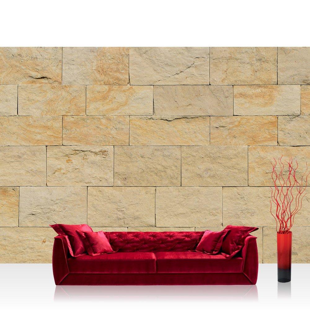Vlies Fototapete 400x280 cm PREMIUM PLUS Wand Foto Tapete Wand Bild Vliestapete - Steinwand Tapete Steinoptik Sandstein Steine Wand 3D Steintapete beige - no. 4301
