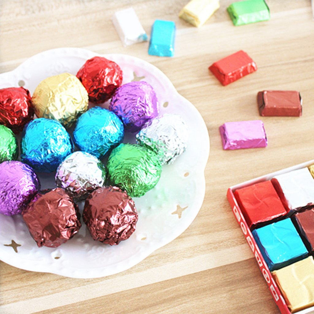 12x12cm P Prettyia 100pcs Aluminum Foil Wrapper Chocolate Candy Wrapping DIY Crafts Coffee