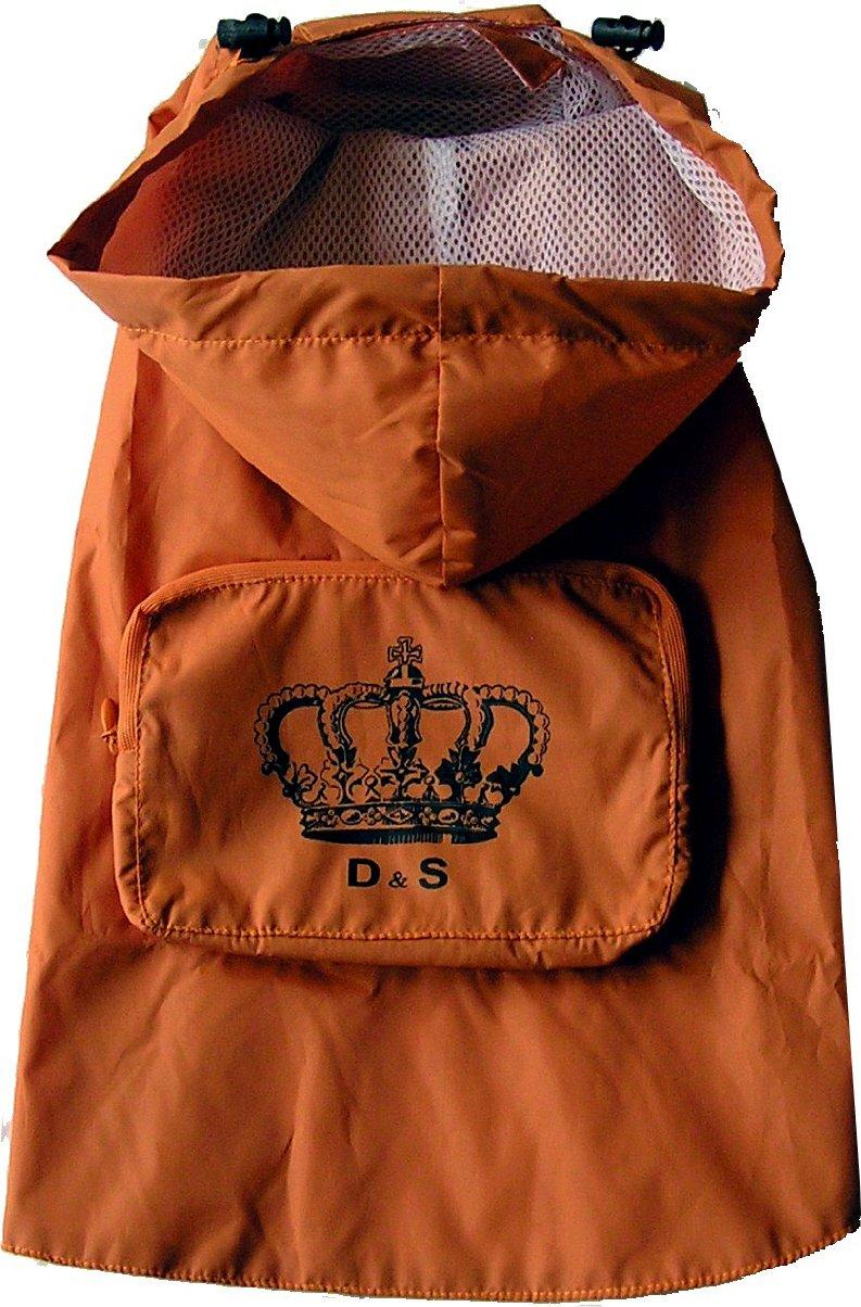 Regencape mit Krone - orange - praktischer Klettverschluß - wasserabweisend - Dogs Stars