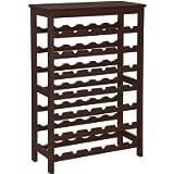 SONGMICS 42-Bottle Floor Wine Rack, 7-Tier Wine Storage Shelves with Table Top, Espresso UKWR27BR