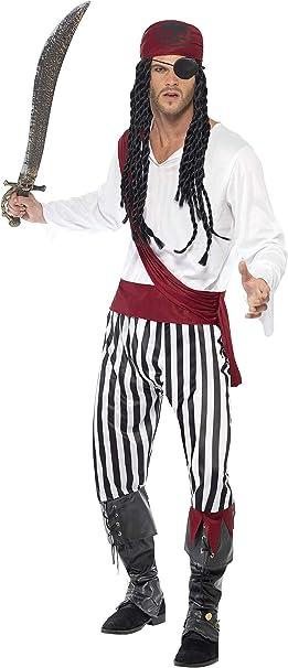 SmiffyS 25783L Disfraz De Hombre Pirata Con Camisa, Pantalones, Banda Para El Pelo Y Cinturón, Negro / Blanco, L - Tamaño 42