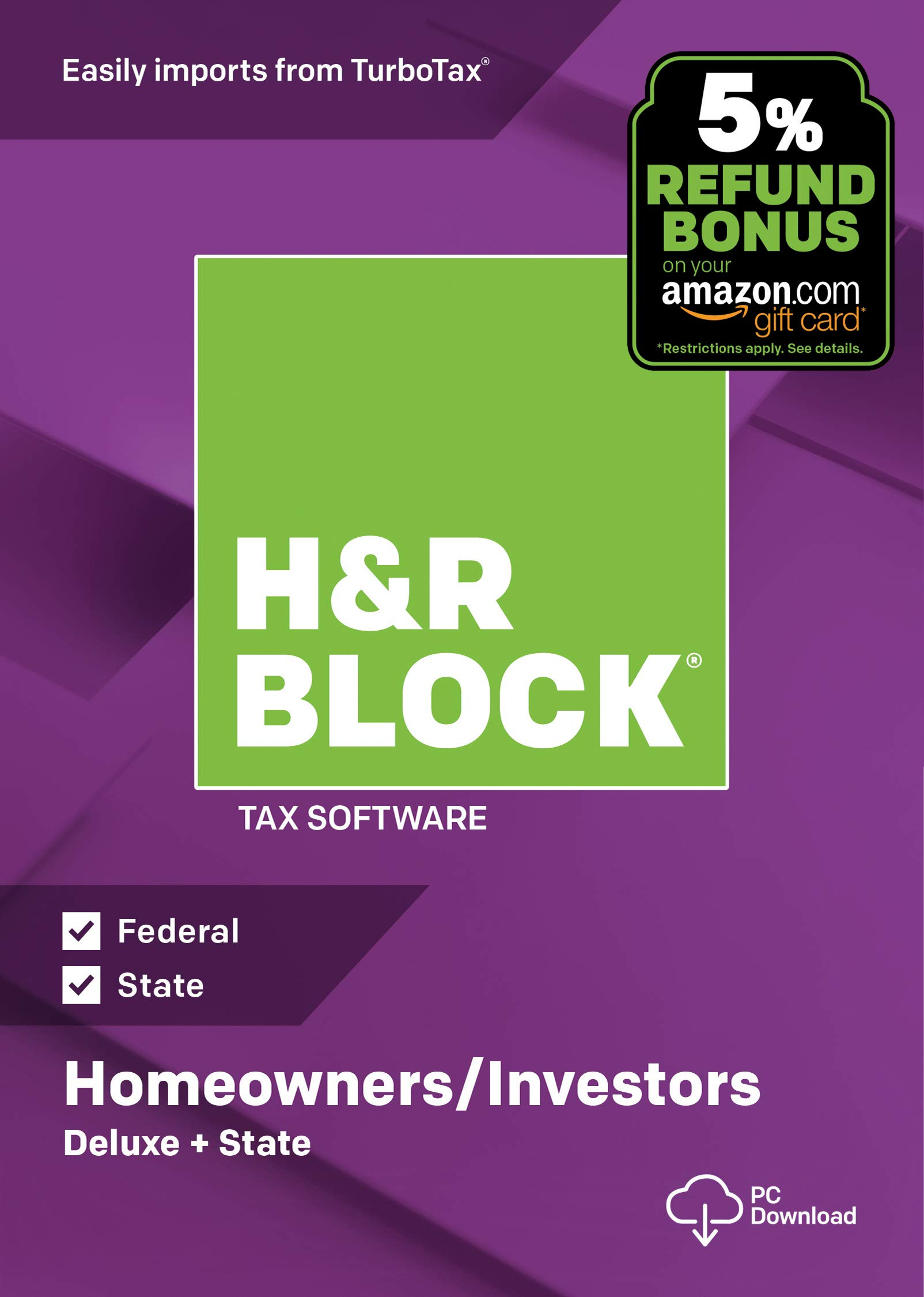 H&R Block Tax Software Deluxe + State 2018 with 5% Refund Bonus Offer [Amazon Exclusive] [PC Download] by H&R Block