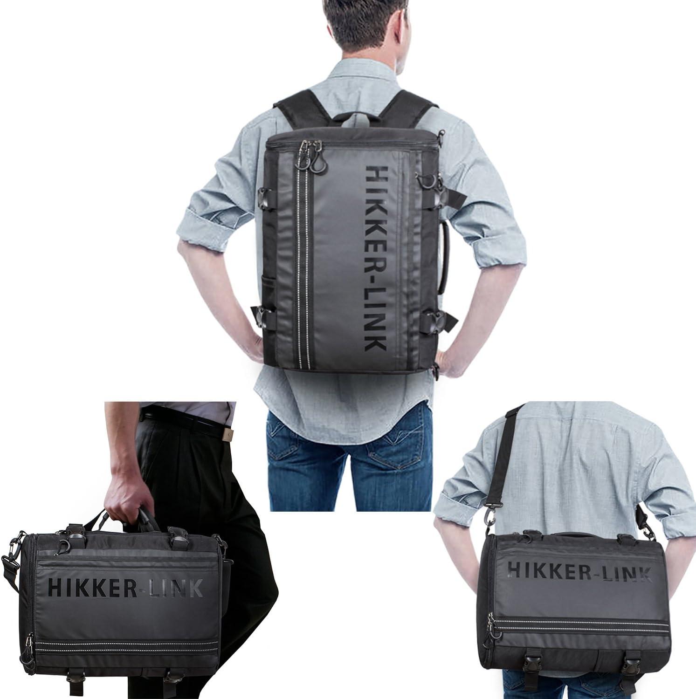 H HIKKER-LINK Mens Laptop Backpack Convertible Shoulder Bag Travel Daypack Black