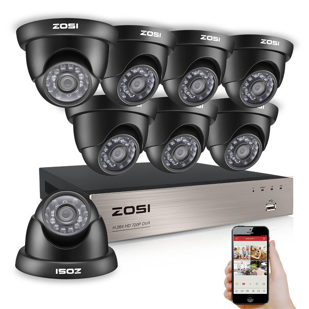 ZOSI 8-Channel HD-TVI 1080N/720P Video Security System DVR and (8)1.0MP Indoor/Outdoor Weatherproof Cameras with IR Night Vision LEDs- NO HDD, 65ft Night Vision, Customizable Motion Detection