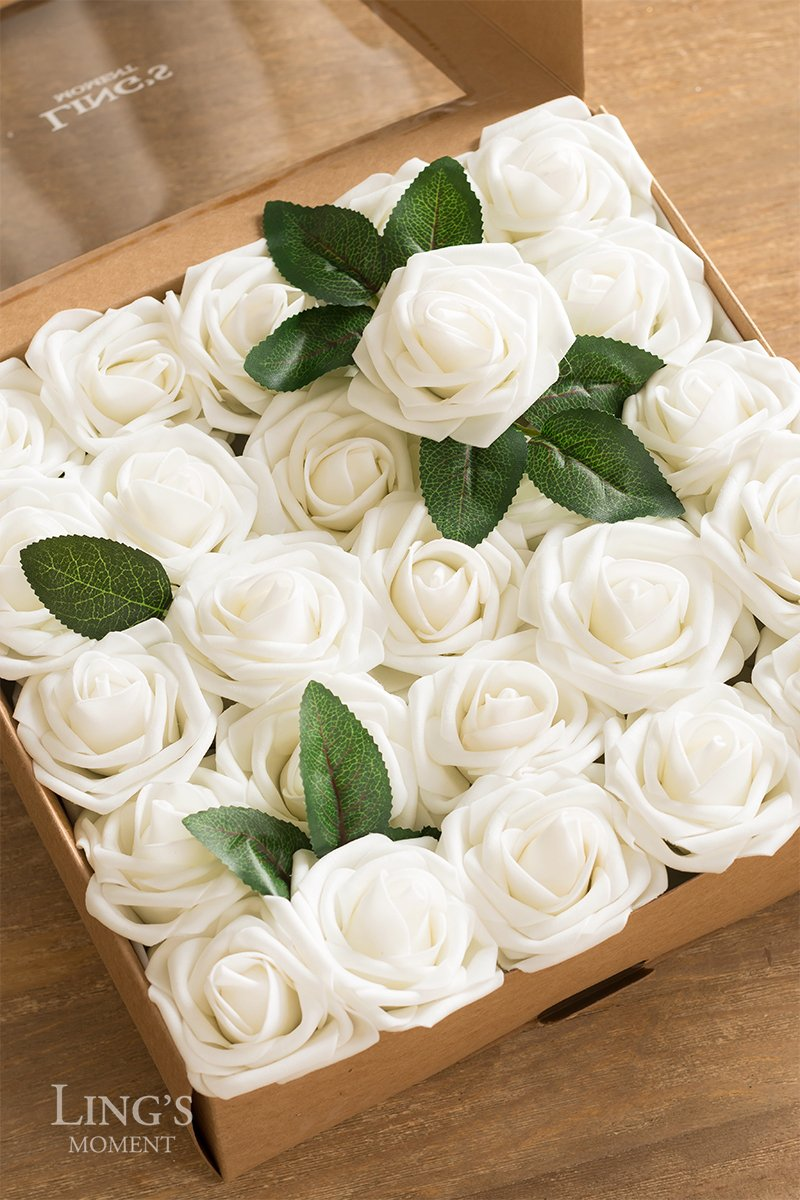 Ling\'s moment Artificial Flowers Ivory Roses 50pcs Real Looking Fake ...