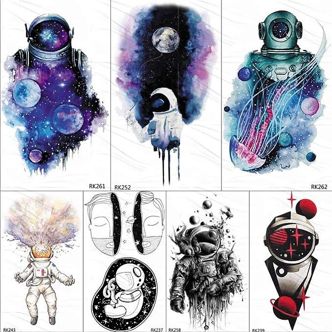 Tatuajes Temporales Adultos Dorados Galaxia Universo Astronauta ...