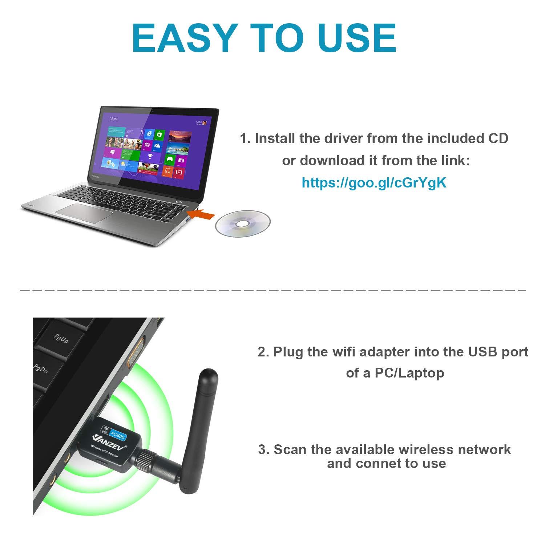 5.8G//433M + 2 .4G//150M Wireless USB Dongle Empf/änger mit Antenne f/ür Desktop PC Laptop Unterst/ützt Windows 10//8//7//Vista//XP Linux MAC OS X VANZEV USB WLAN Stick WiFi Adapter Dualband AC600Mbit//s