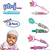 PBnJ baby Pacifier Clip Holder Strap Leash Tether for Boys and Girls with Safe Plastic Clip (Dots, Hearts, Paisley 3-Pack)