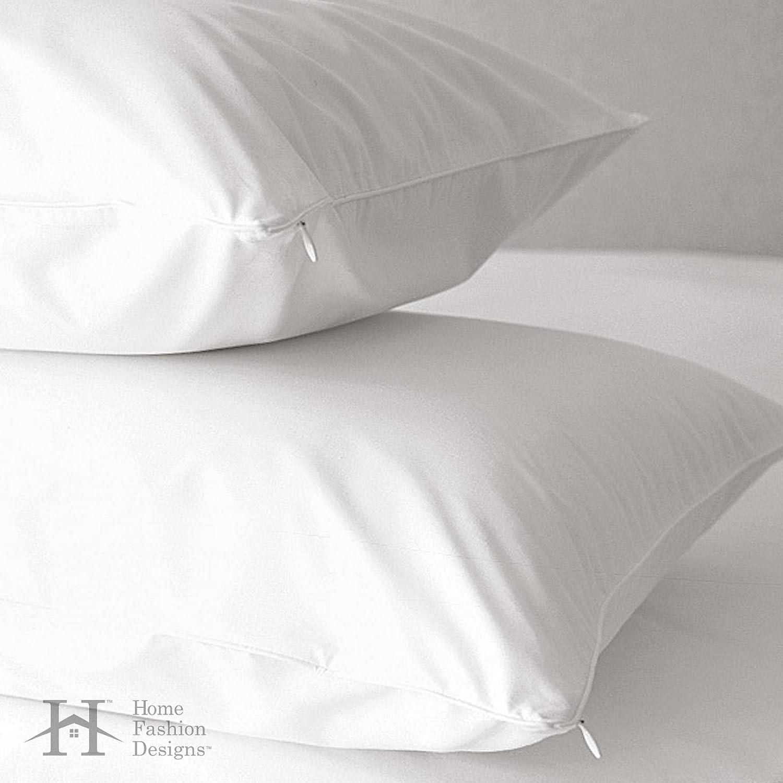 最高のアレルギー保護 枕カバー 低アレルギー性 ダストダニ、ナンンキンムシに耐性のある、抗菌性 500 スレッドカウント100% コットンジッパー式 枕カバー。 Home Fashion Designs ブランド製品。 キング ホワイト B073JZYK67キング