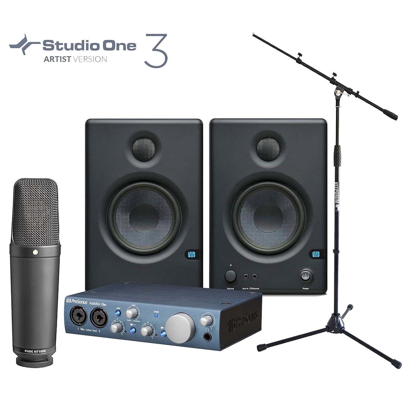 Rode NT1000 Mikrofon + Presonus iTwo Audio Interface + Eris 4.5 aktiv Boxen + KEEPDRUM Mikrofonständer
