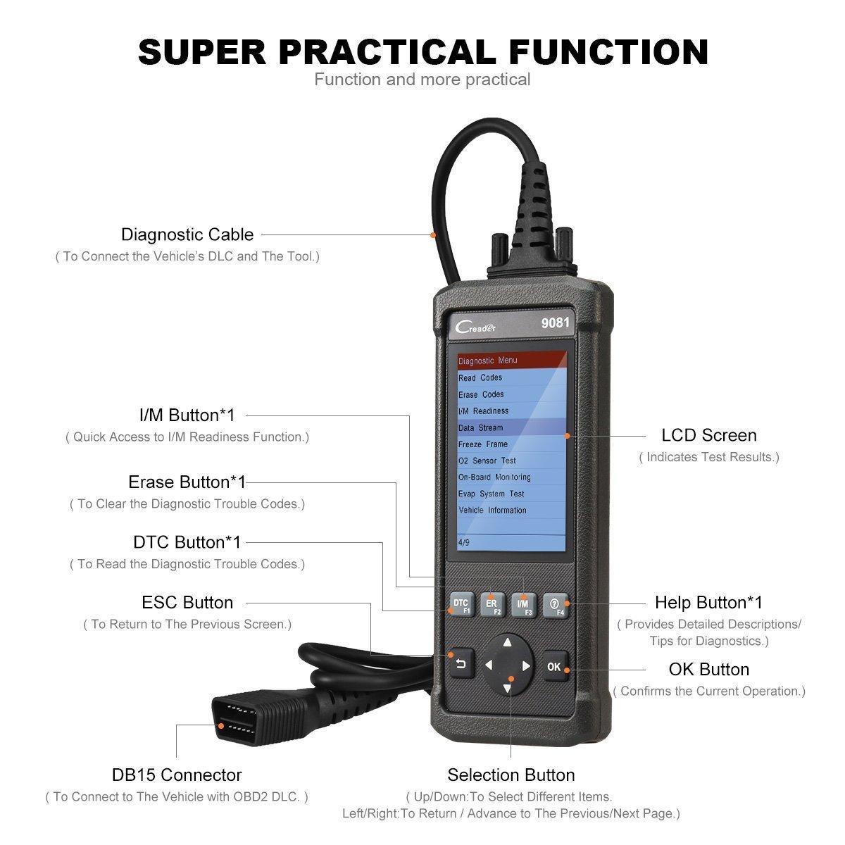 SAS y l/ámpara de aceite reset lanzamiento Creader 9081 esc/áner herramienta de diagn/óstico lector de c/ódigo de coche obdii con TPMS EPB,BMS,DPF OBD2 esc/áner