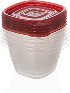 Rubbermaid TakeAlongs Mini Deep Square Food Storage Containers, 2.1 Cup, Tint Chili, 5 Count FG7H93CATCHIL