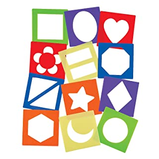 Fun Express Simple Stencil Shapes - 12 Pieces - Educational and Learning Activities for Kids