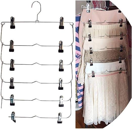 6-Layer Tie Rack Pants Foldable Organizer Trouser Skirt W//Clip Hanger Durable 1X