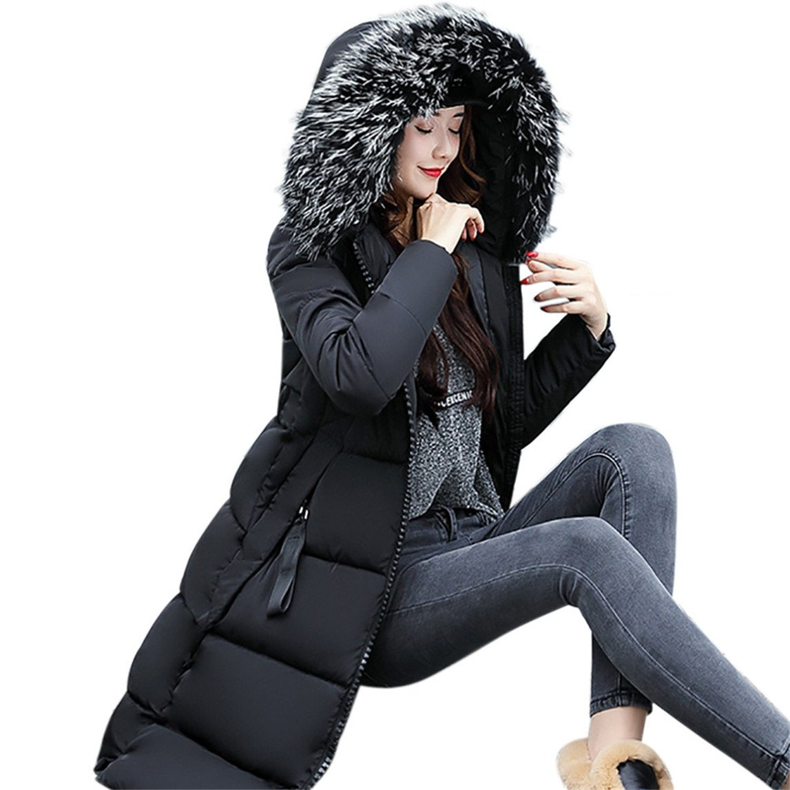 Nadition Women Solid Coat Clearance ♥ Casual Thicker Winter Slim Down Lammy Jacket Coat Overcoat (Black, 2XL)