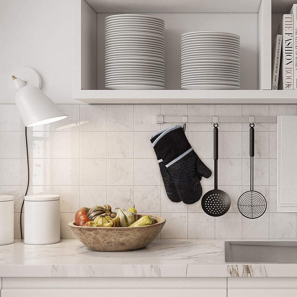 hitzebest/ändig Kochen Anpole Ofenhandschuhe aus Silikon 1 Paar Backen Grillen Doppel-Topfhandschuhe f/ür K/üche Ofenhandschuhe weiches Baumwollfutter mit Rutschfester Oberfl/äche